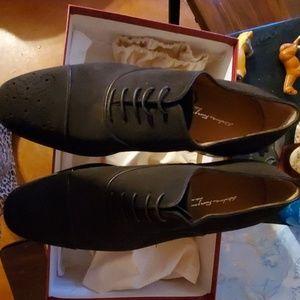 Salvatore ferragamo chocolate suede dress shoes